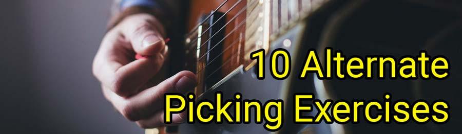 alternate picking exercises: pdf + video tabs