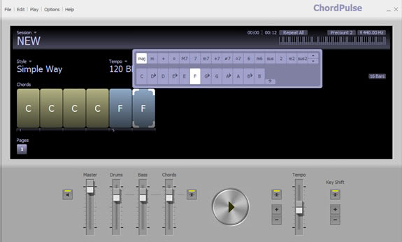 chordpulse backing tracks software