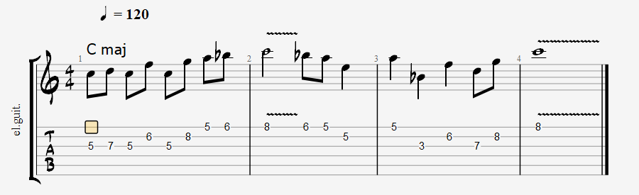 Mixolydian scale over major
