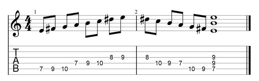 E harmonic minor scale 1 octave